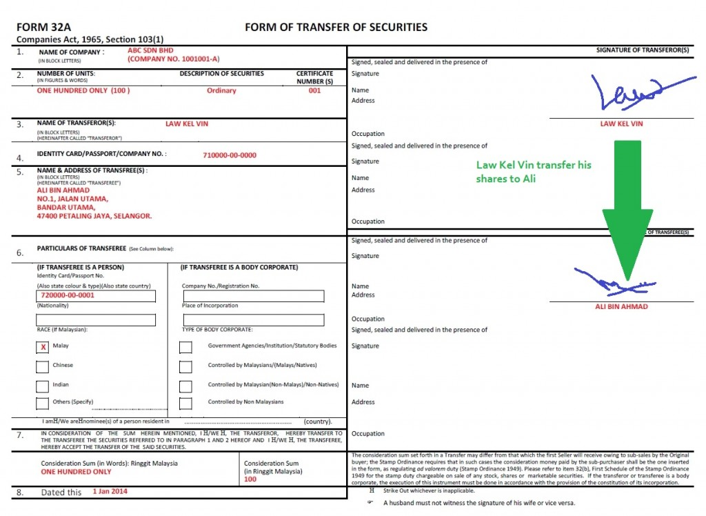 How to transfer shares in a sdn bhd (Form 32A - Shares Transfer Form)