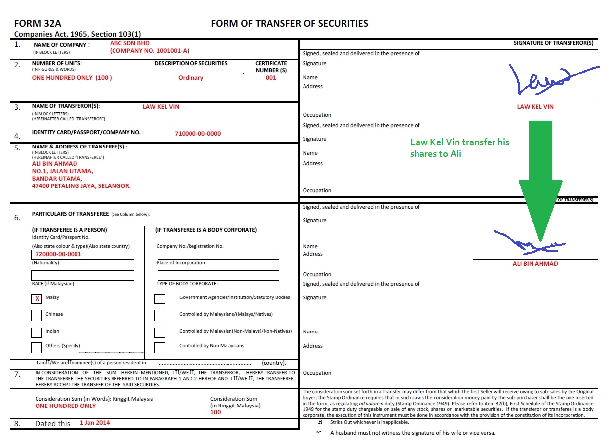 Form 32A – Share Transfer Form - Company Registration in Malaysia